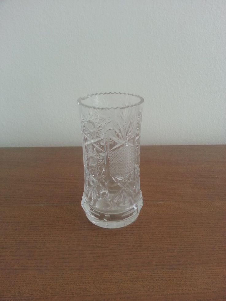 Cylinder crystal engraved vase