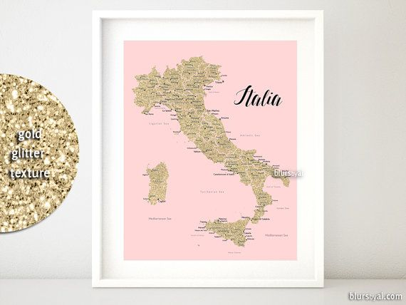 16x20 Printable map of Italy, Italy map with cities, Italia map, gold glitter Italy map, nursery map, blush pink and gold map - map054 012