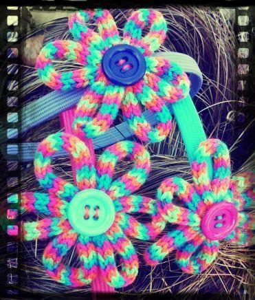 French Knitting Flower headband