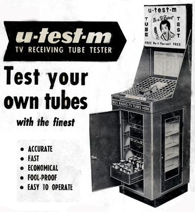 TV tube tester (when the TV malfunctioned, you'd remove the suspect tubes & go test them at a store that had one of these) You need a mirror and a wooden spoon to find out which tube is giving you trouble