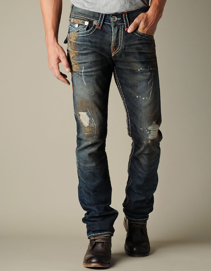 MaLe>sTyLe>kourture loves this rugged look...True Religion A true fav of mine for men and woman...Men's Ricky Natural Super T W/ Orange Bartacks   @True Religion Brand Jeans