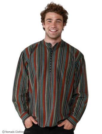Hippy Shirt Mens Ethnic Stripey Cotton Long Sleeve Grandad Shirt By Folio Gothic Hippy MS12