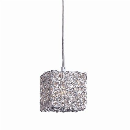 Chrome metal square- shaped base and lamp holders. Aluminium fusion cubic body light with large 2.5 mm thick grid.
