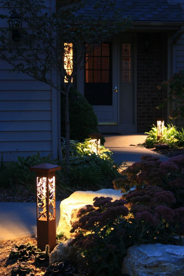 Outdoor landscape lighting decorative steel bollard light - Exterior landscape lighting fixtures ...