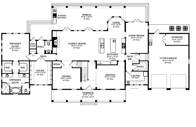 Floor plans aflfpw76378 2 story colonial home with 5 for Colonial floor plans open concept