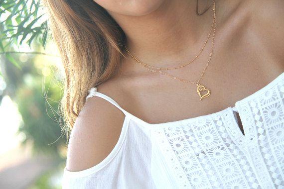 Gold Heart Necklace, Sideways Heart Necklace, #jewelry #necklace @EtsyMktgTool http://etsy.me/2wGkQu9 #filligree #love #minimalistjewelry