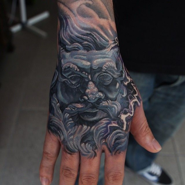 zeus color statue tattoo by Q colour realism tattoo
