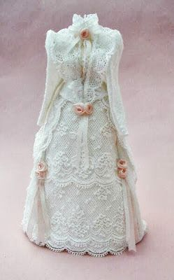 White Tea Gown with Tiny Pink Rosebuds.