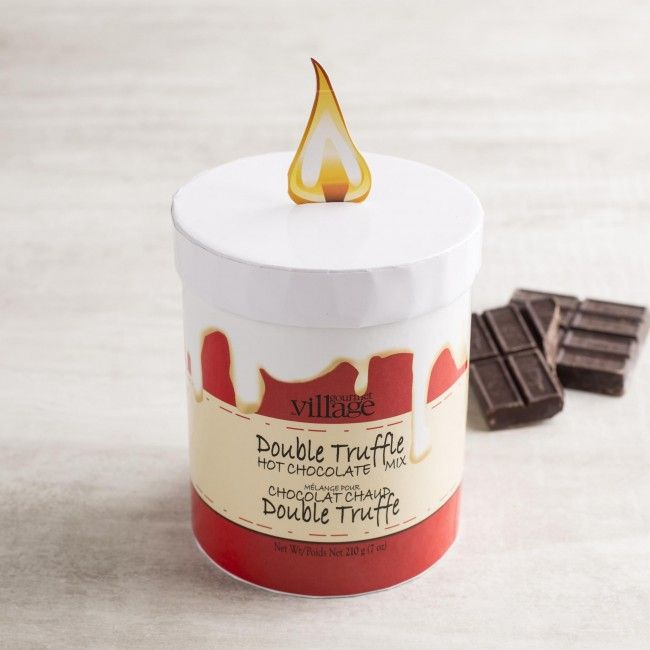 Each pillar candle holds enough double truffle hot chocolate for 6 steaming mugs. Just add hot water or hot milk to the chocolate mix to make a delicious mug of hot chocolate.