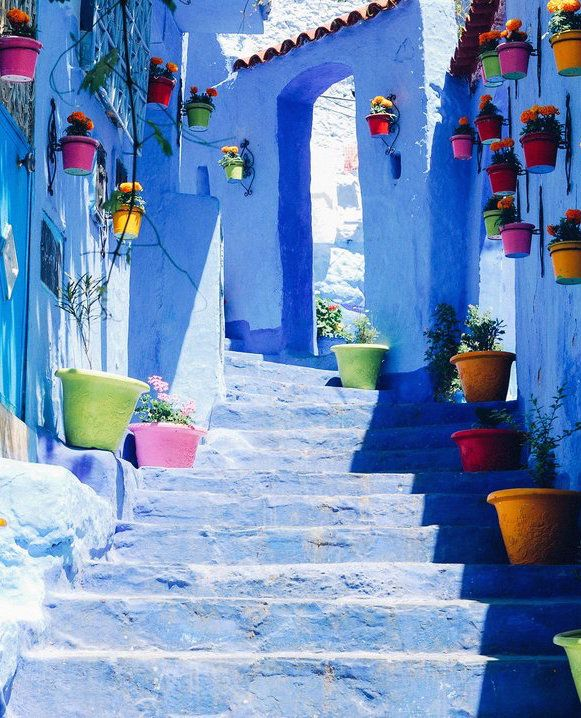 Chefchaouen in Morocco is one of Morocco's many hidden treasures. It is an all blue village that would be a dream to explore. Shop our beachwear collection at matthewwilliamson.com