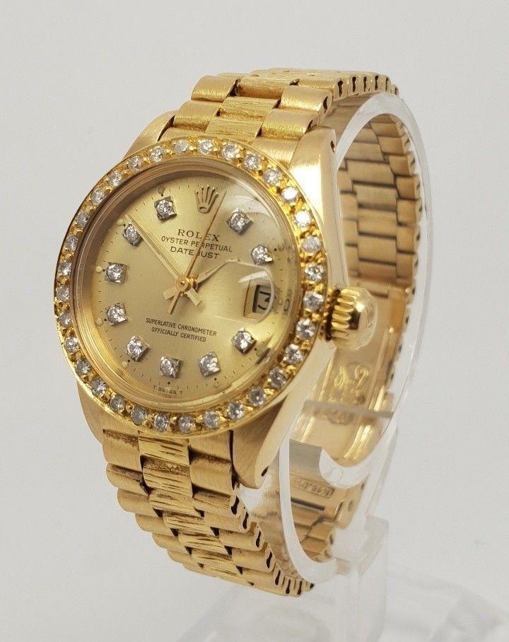 Rolex Ladies 6917 Datejust 18k Gold Custom Diamond Bezel Dial 26mm
