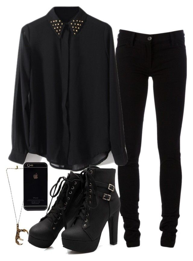 """""""Black as my soul ~"""" by multifandombitch-dealwithit ❤ liked on Polyvore featuring Pamela Love and Ann Demeulemeester"""