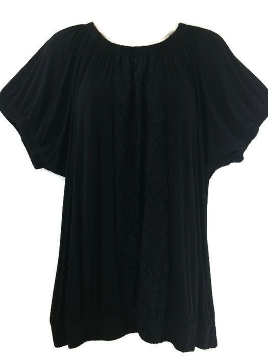 Top black peasant stretch rayon lace front elastic neck amp hem