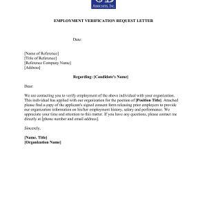 Letter of employment visa