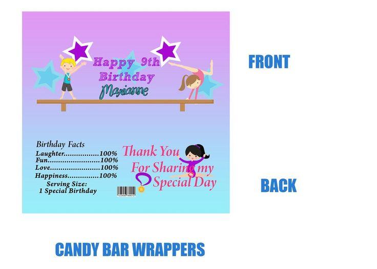 Gymnastics candy bar wrappers