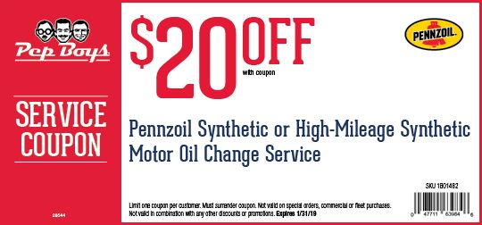 20 Off Pennzoil Synthetic Or High Mileage Synthetic Oil Change Service Oil Change Car Repair Service Pep Boys