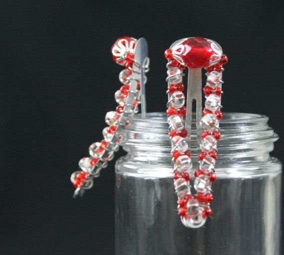 Red & White Large Hair Clip by BlueJewelsCreations on Etsy, $7.00