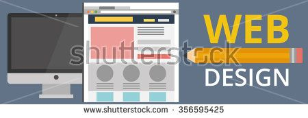 Vector collection of flat website templates. Vector set of flat website wireframes on computer screen. Abstract flat vector illustration of web design and development concepts. - stock vector