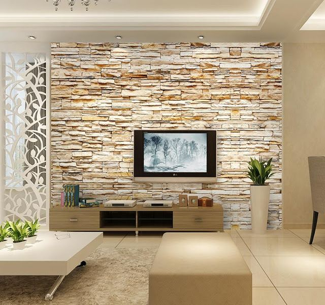 Feature 3d Fake Wall Stone Effect Wallpaper Decorating Ideas Brick Wallpaper Tv Brick Wallpaper Mural Fake Stone Wall Decorative stones for living room
