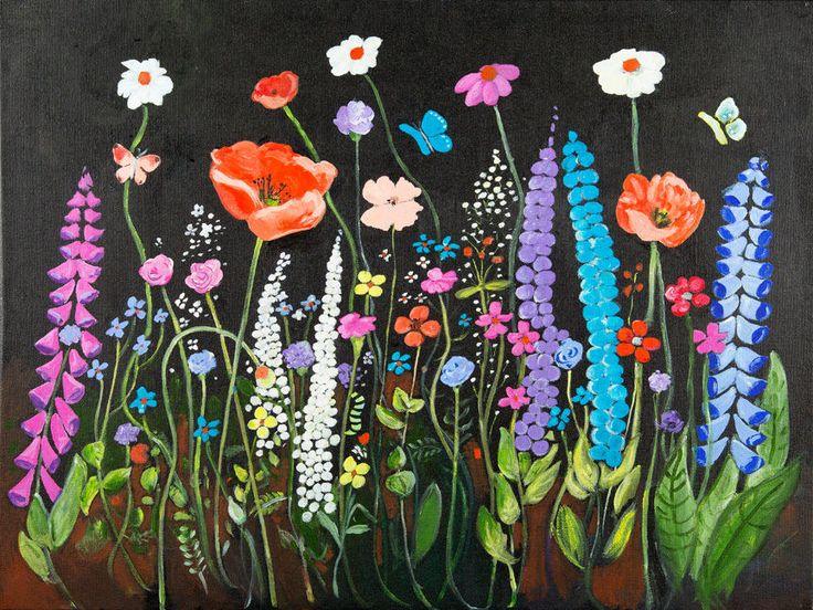 CANVAS Bold Colorful Floral Painting Art Gallery Wrap by Elizabeth Stacke #ArtDecor #buyartforless