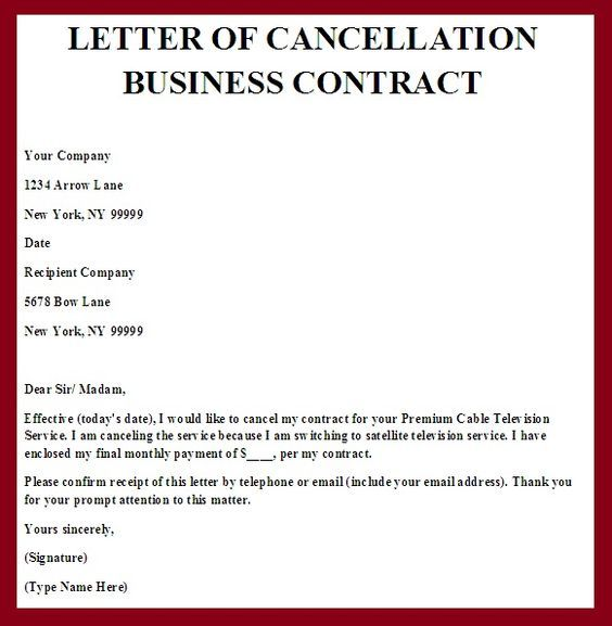 Printable Sample Contract Termination Letter Form: