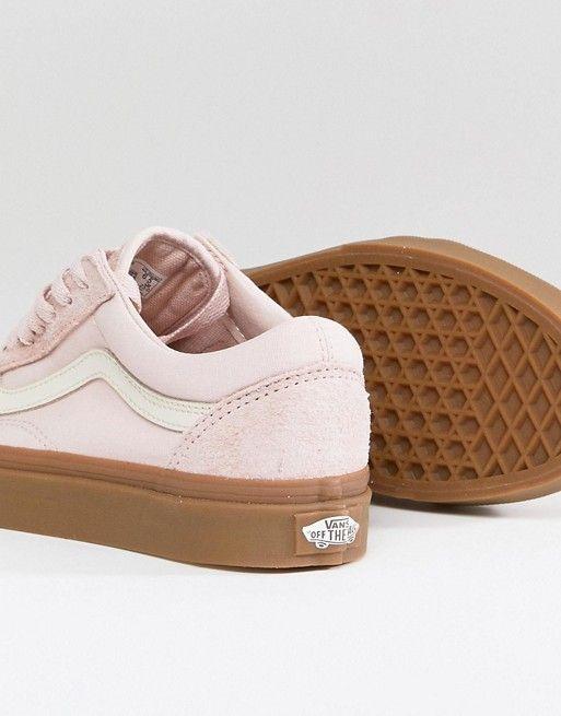 Vans Old Skool Sneakers In Pink Fuzzy Suede With Gum Sole