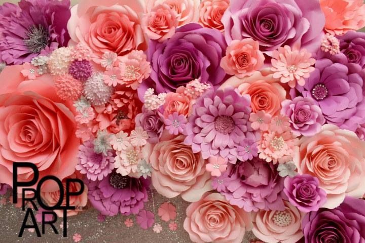 Paper flower backdrop from PropArt