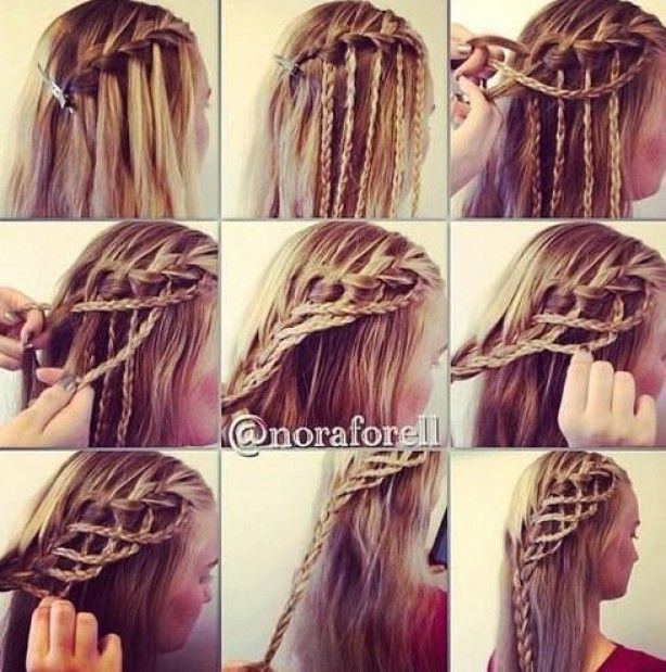 cool cute braid! waterfall braid with discarded strands braided and more