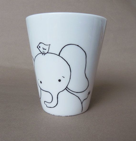 Elephant hand painted white porcelain mug by PaintMyName on Etsy, $27.00