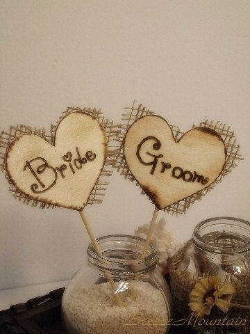 Wood Wedding Cake Toppers Rustic Chic Wedding by breezemountain8, $11.99