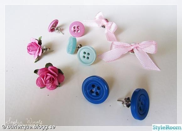 örhängen,knappar,rosetter,rosor