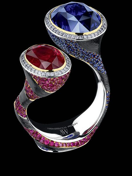 jewellery theatre artstones ring 18k white gold sapphires rubies u0026