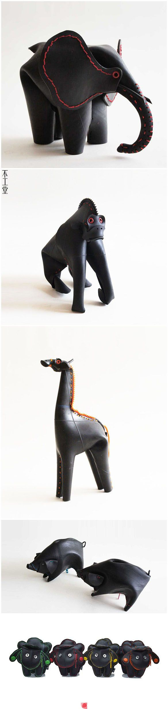 Upcycled bike tube animals. Been thinking about making something like this, glad to see someone's already doing it!