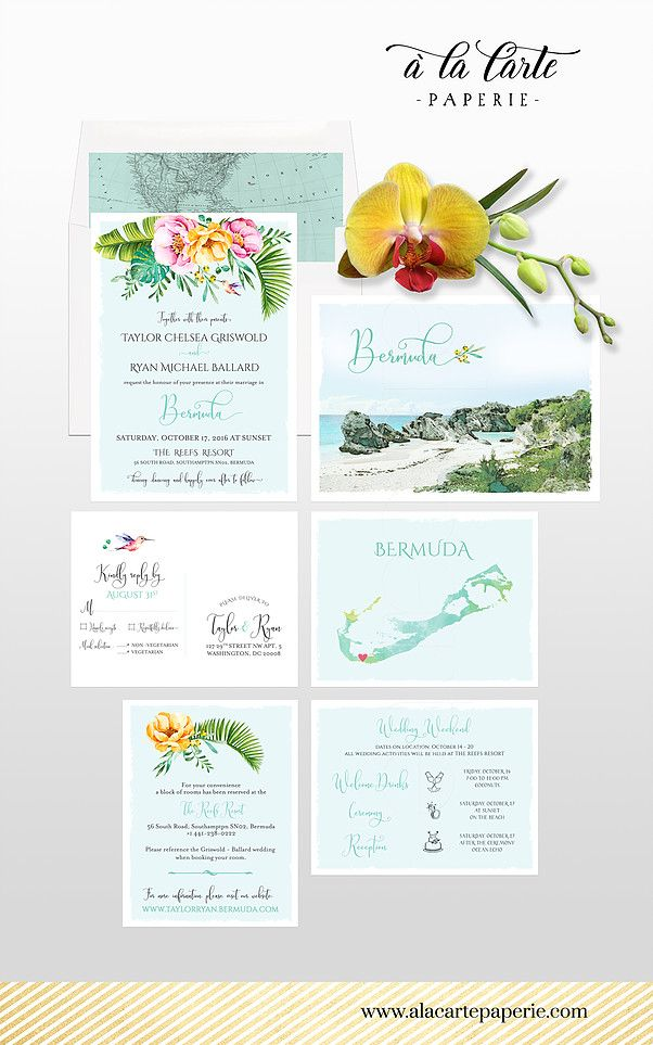 Bermuda Destination wedding invitati