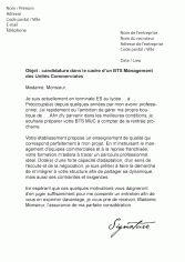Candidature BTS Management des Unités Commerciales