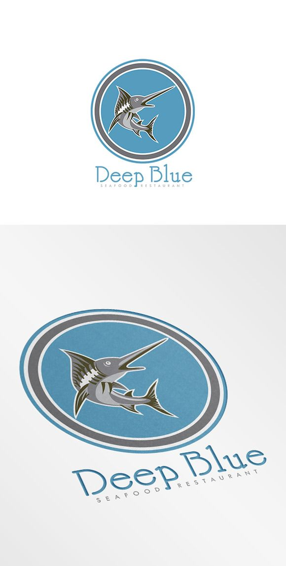 Check out Deep Blue Seafood Restaurant Logo by patrimonio on Creative Market