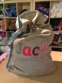 Personalised Christmas sack - like the binding around the top