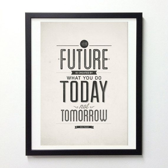 Inspirational Quote Poster Your Future Is Created by NeueGraphic