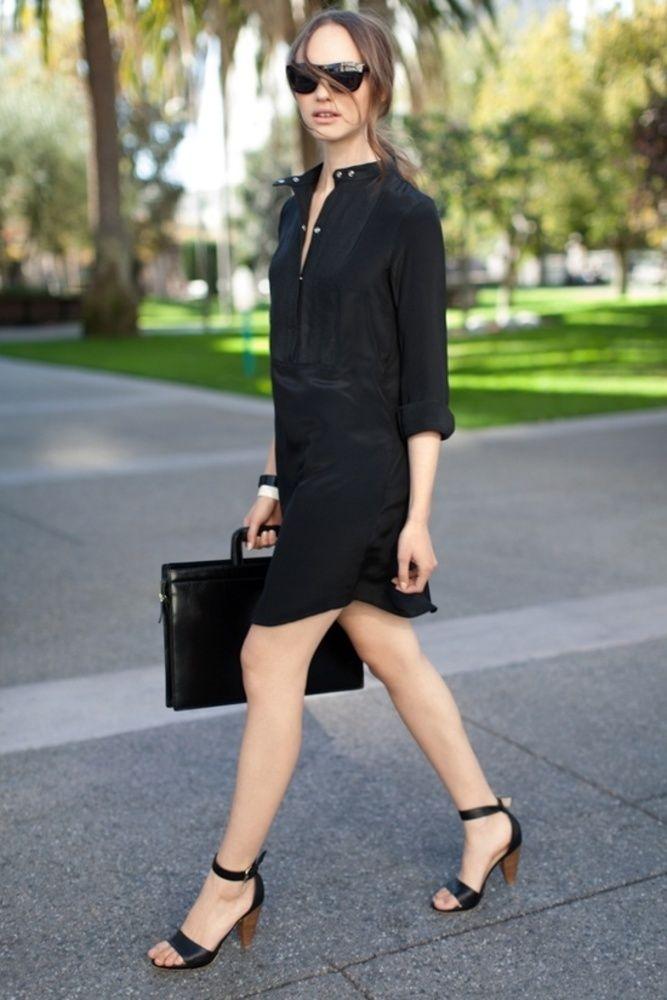 Vestidos chemise pretos - http://vestidododia.com.br/modelos-de-vestido/vestidos-chemise/vestidos-chemise-pretos/
