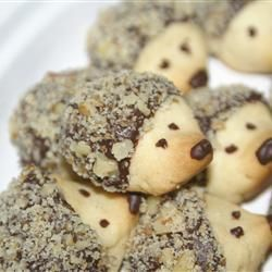Hedgehog cookies. Simple butter cookie recipe, pinch end for shape, bake, then dip in chocolate and roll in something crunchy. (nuts, coconut, candy) pipe on eyes and nose. :D