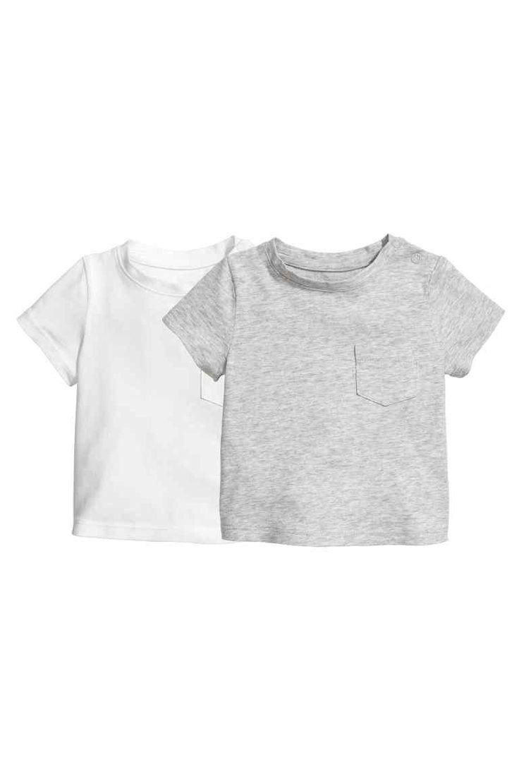 2-pack T-shirts - Grey marl & white | H&M £12.99