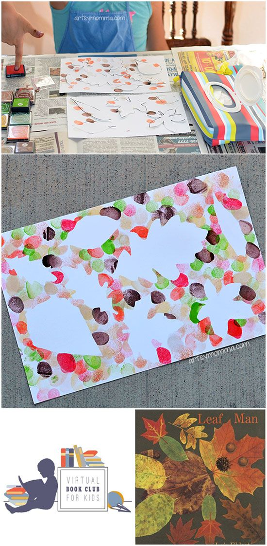 Fingerprint Fall Leaf Art Project - Leaf Man Book Extension