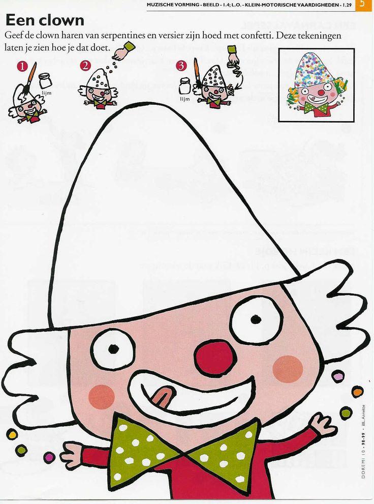 Décore le chapeau et les cheveux du clown