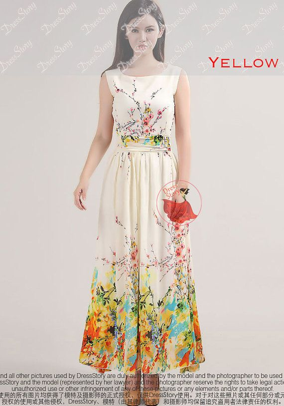 Sale Floral Maxi Dress Floral Prom Dress Yellow by DressStory