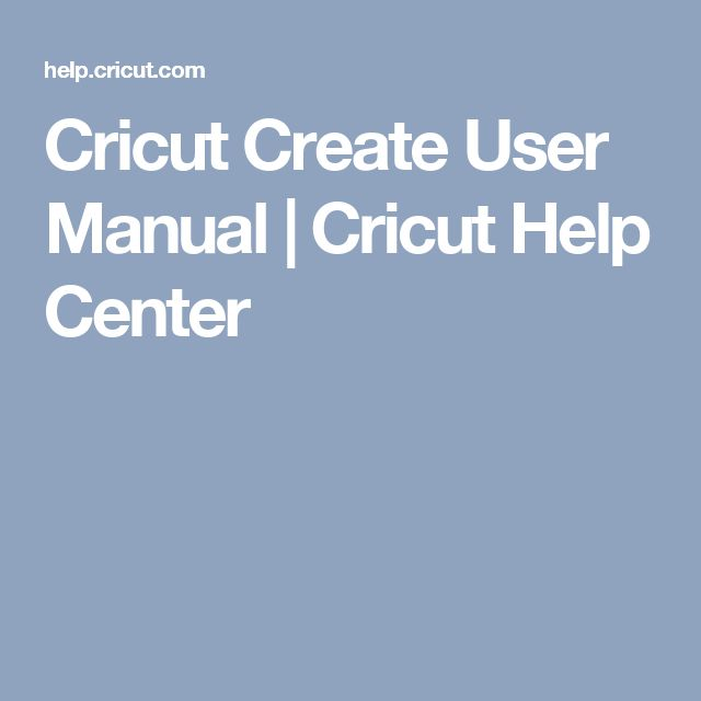 Cricut Create User Manual