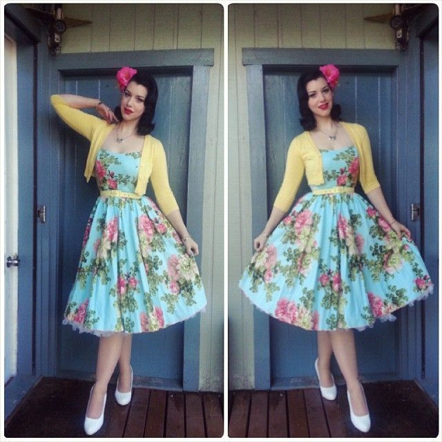 Tuesday Dress- Vanity Project by Limb Belt- Pinup Girl Clothing Cardigan- ModCloth