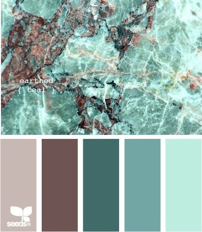 earthed teal - these are really close to our colors we are looking at  Think we are doing 3 walls the light blue, 1 wall the dark blue, and putting the middle blue in as a horizontal stripe all the way around our bedroom.  Bedding is brown and blue :)