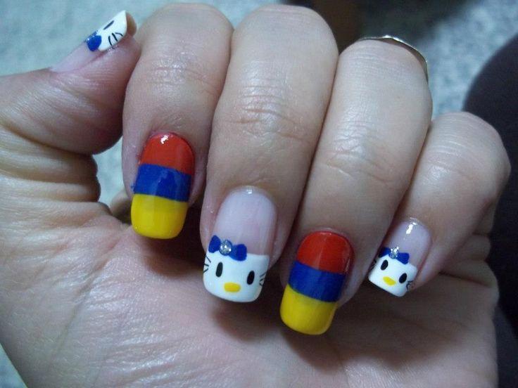 Uñas decoradas con la bandera o colores de Ecuador | Decoración de Uñas - Manicura y Nail Art