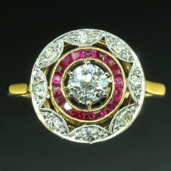 Bague Art Déco Rubis Diamants Or Jaune 18K