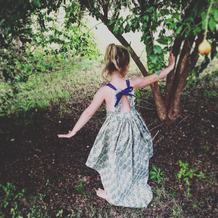 Summer peacock dress handmade for My little miss